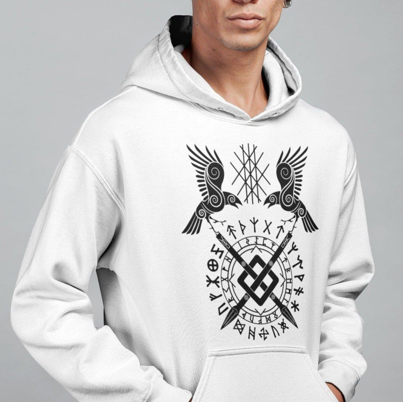 Vikings Huginn and Muninn on Runes & Gungnir Unisex Hoodie Ancient Treasures Ancientreasures Viking Odin Thor Mjolnir Celtic Ancient Egypt Norse Norse Mythology