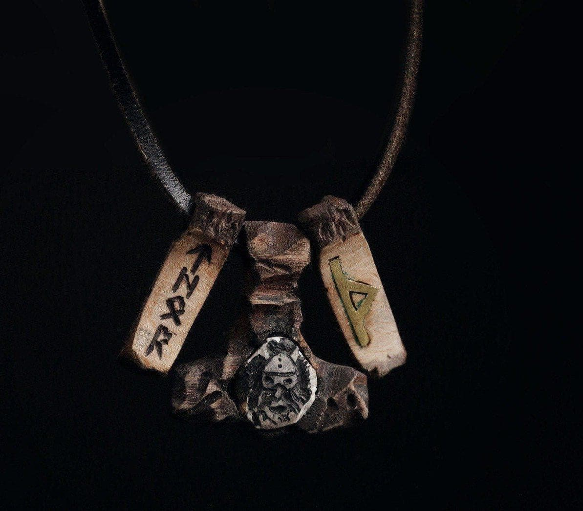 "Vikings Mjolnir ""Forest Element"" w/ Thurisaz Rune Pendant & Necklace Ancient Treasures Ancientreasures Viking Odin Thor Mjolnir Celtic Ancient Egypt Norse Norse Mythology"