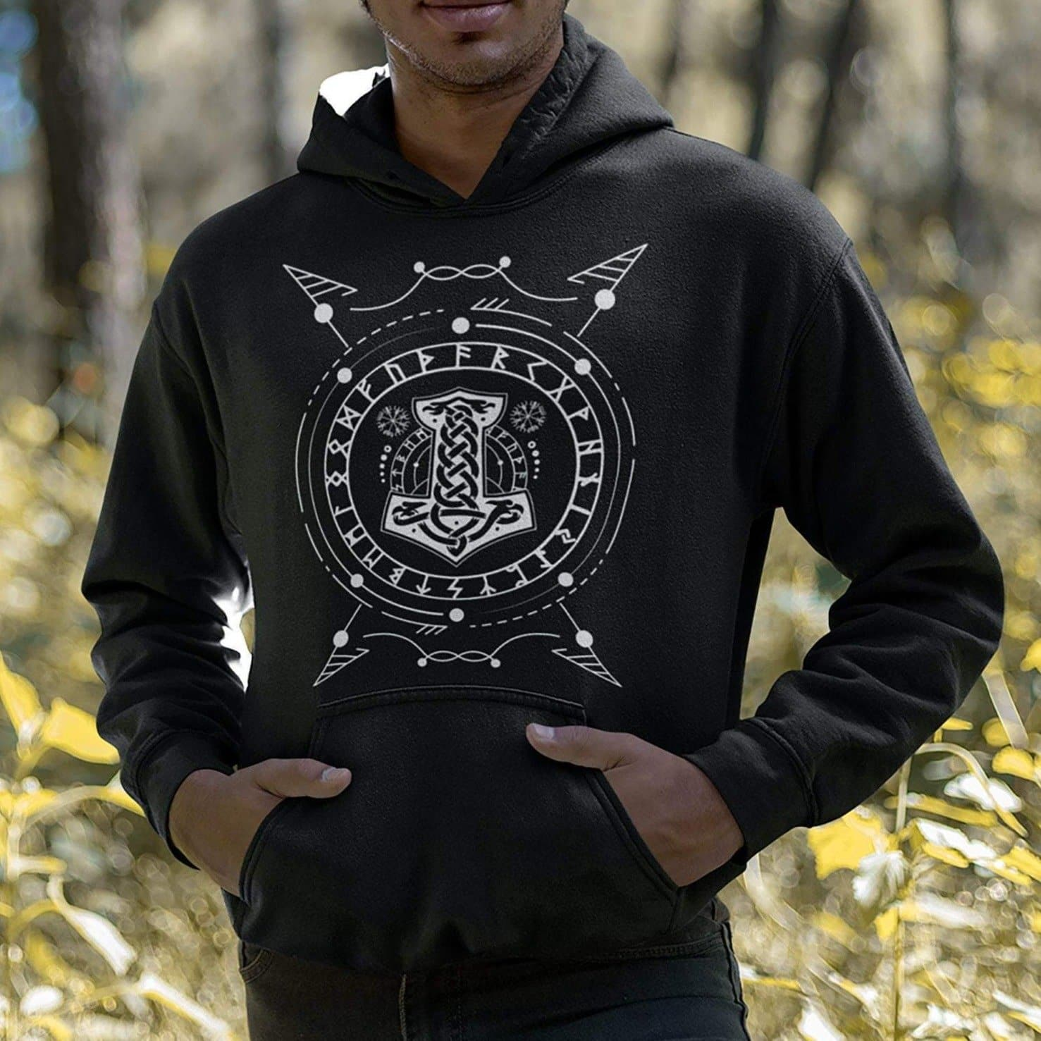 Vikings Mjolnir - Thor's Hammer & Runes Unisex Hoodie Ancient Treasures Ancientreasures Viking Odin Thor Mjolnir Celtic Ancient Egypt Norse Norse Mythology