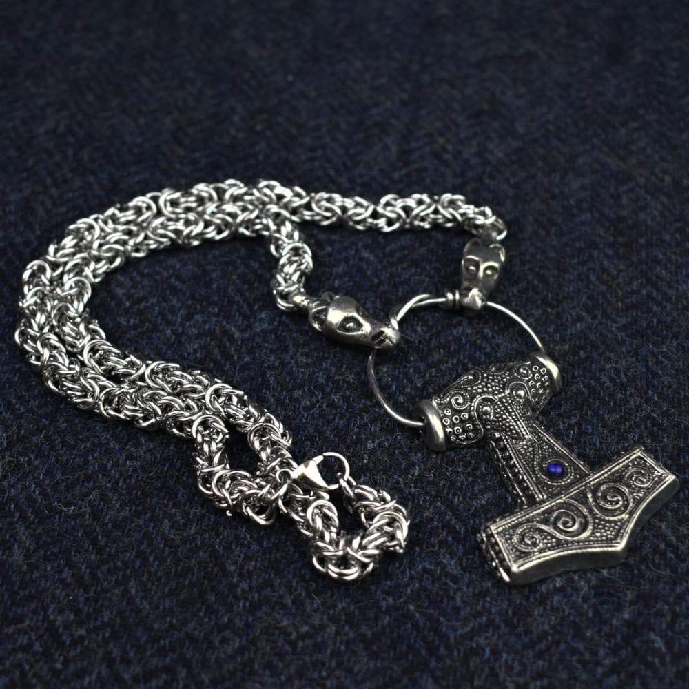 Vikings Thor Hammer Glass Stone on Dragon Pewter Chain Ancient Treasures Ancientreasures Viking Odin Thor Mjolnir Celtic Ancient Egypt Norse Norse Mythology