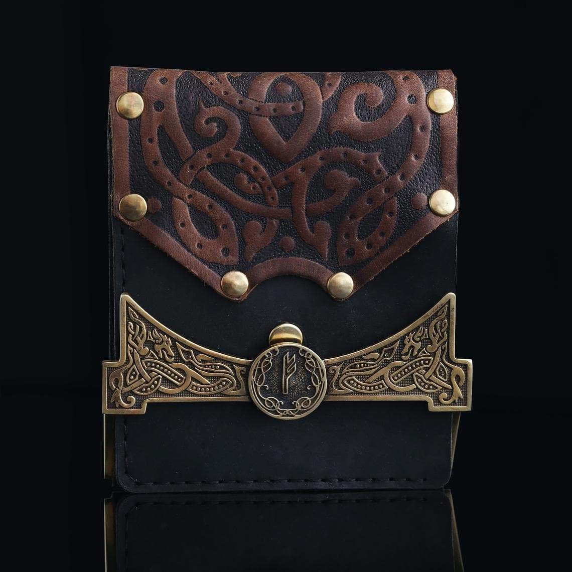 Viking Leather Wallet with Rune Fehu Metal Buckle