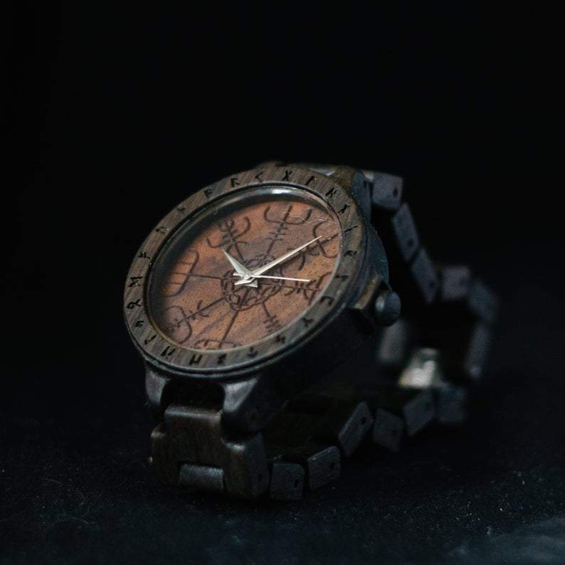 Watches Viking Vegvisir Wooden Watch with Runic Circle Ancient Treasures Ancientreasures Viking Odin Thor Mjolnir Celtic Ancient Egypt Norse Norse Mythology