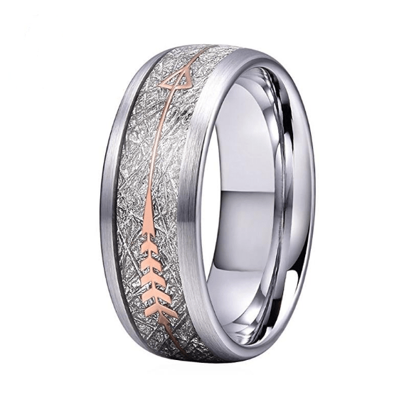 Wedding Bands Men Women Wedding Band Tungsten Carbide Ring Brushed Finish With Imitated Meteorite And Rose Gold Arrow Inlay|Wedding Bands| Ancient Treasures Ancientreasures Viking Odin Thor Mjolnir Celtic Ancient Egypt Norse Norse Mythology