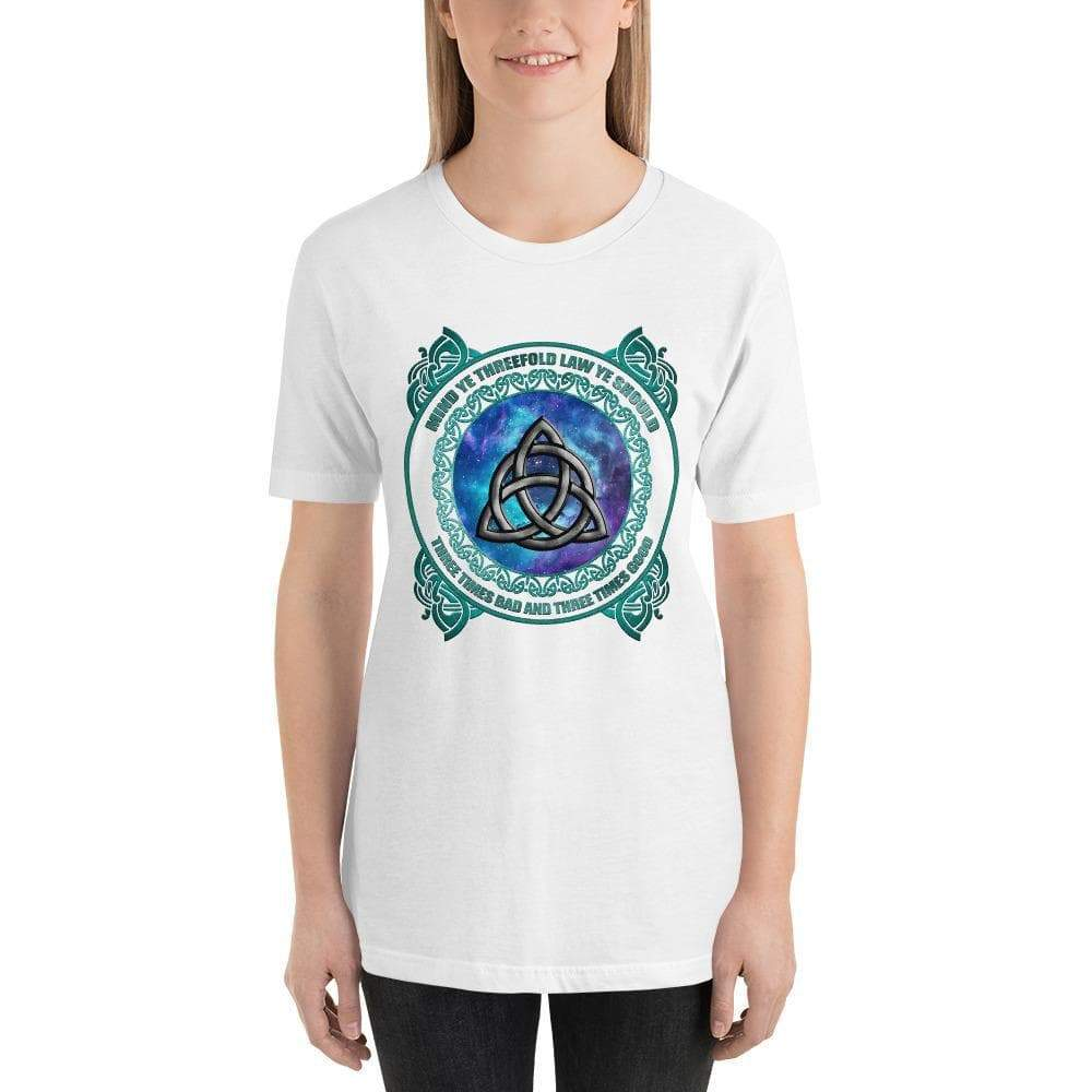 White / XS Wicca Triquetra T-Shirt Ancient Treasures Ancientreasures Viking Odin Thor Mjolnir Celtic Ancient Egypt Norse Norse Mythology