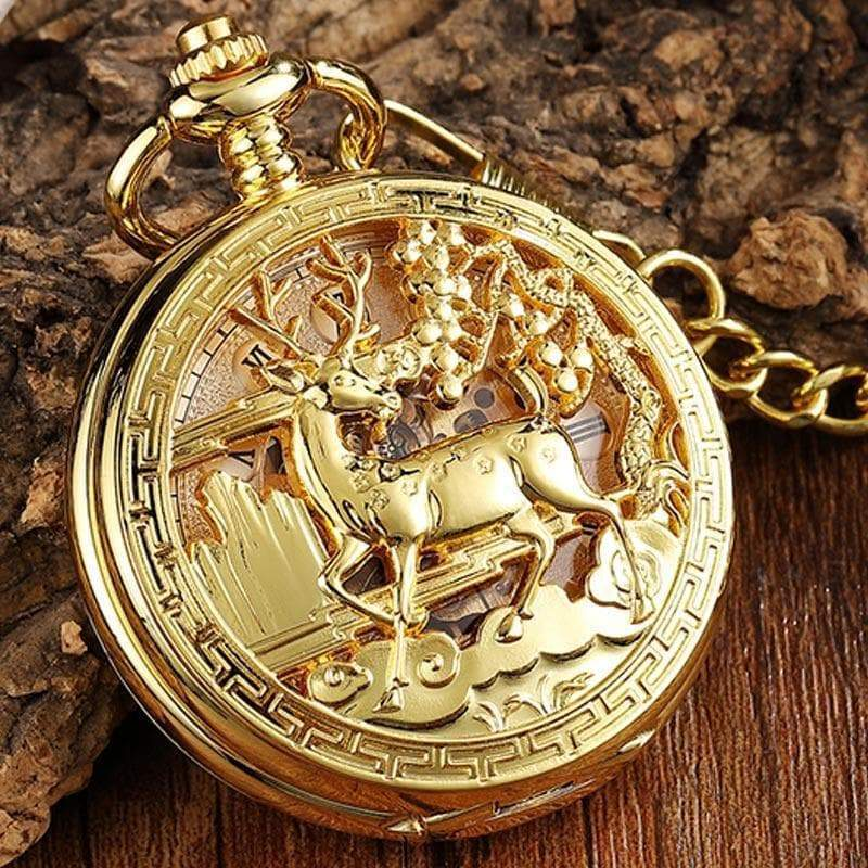 Wiccan Golden Hollow Deer Mechanical Pocket Watch Ancient Treasures Ancientreasures Viking Odin Thor Mjolnir Celtic Ancient Egypt Norse Norse Mythology