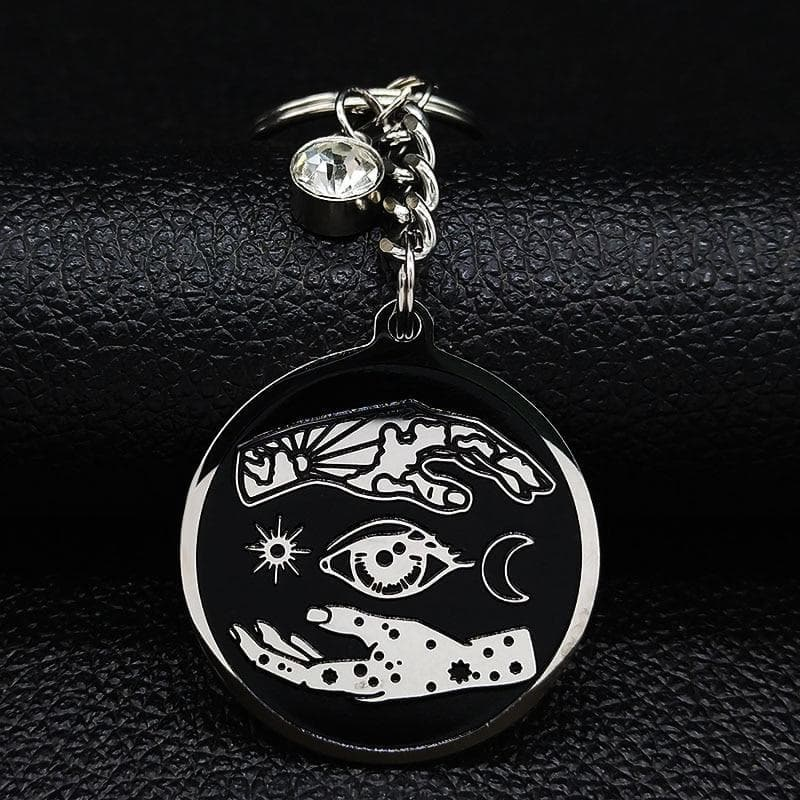 Wiccan Hand, Eyes, Moon & Sun Stainless Steel Keychian Ancient Treasures Ancientreasures Viking Odin Thor Mjolnir Celtic Ancient Egypt Norse Norse Mythology