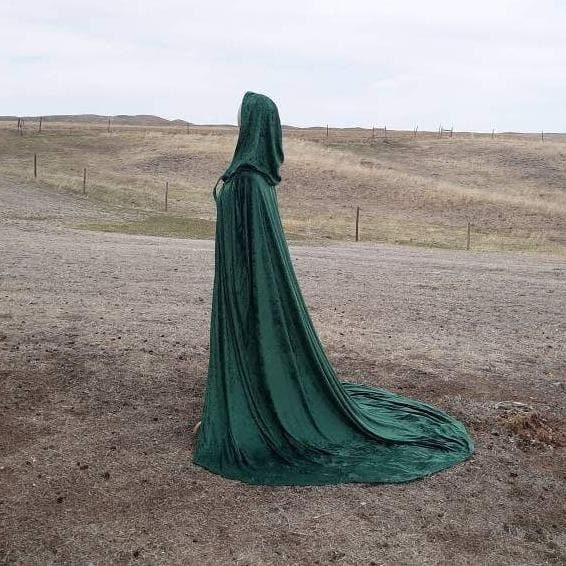Wiccan Long Train Green Velvet Hooded Cloak Ancient Treasures Ancientreasures Viking Odin Thor Mjolnir Celtic Ancient Egypt Norse Norse Mythology