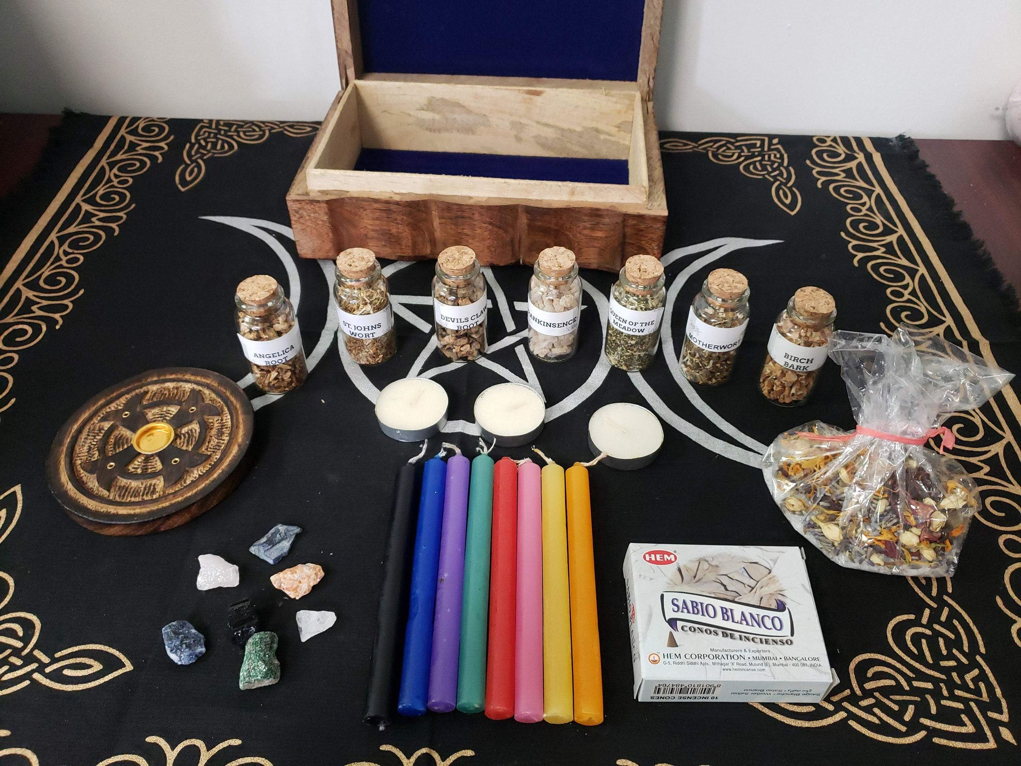 Wiccan Mixed Herbs, Stone & Witchcraft Kit - Beginners Set Ancient Treasures Ancientreasures Viking Odin Thor Mjolnir Celtic Ancient Egypt Norse Norse Mythology
