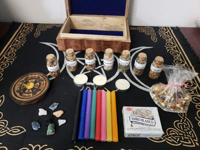 Wiccan Mixed Herbs, Stone & Witchcraft Kit - Beginners Set