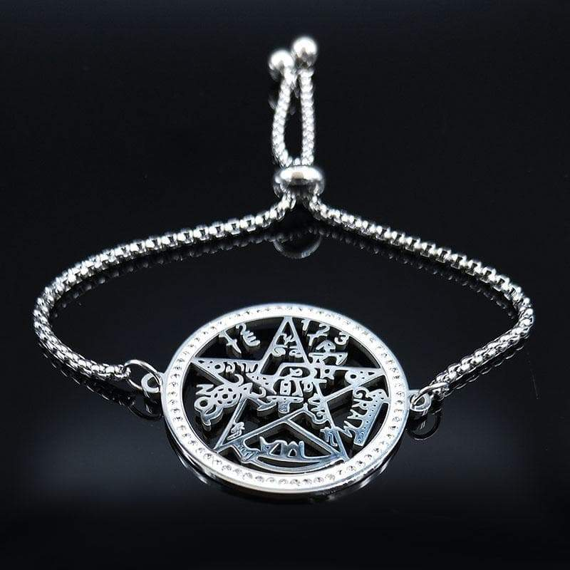 Wiccan Pentagram Tetragrammaton Stainless Steel Bracelet Ancient Treasures Ancientreasures Viking Odin Thor Mjolnir Celtic Ancient Egypt Norse Norse Mythology