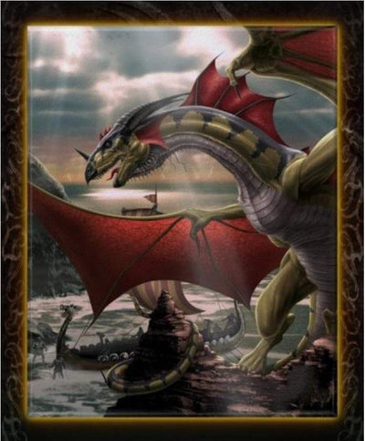 Wiccan Sentinel Dragon Framed Ceramic Tile Art