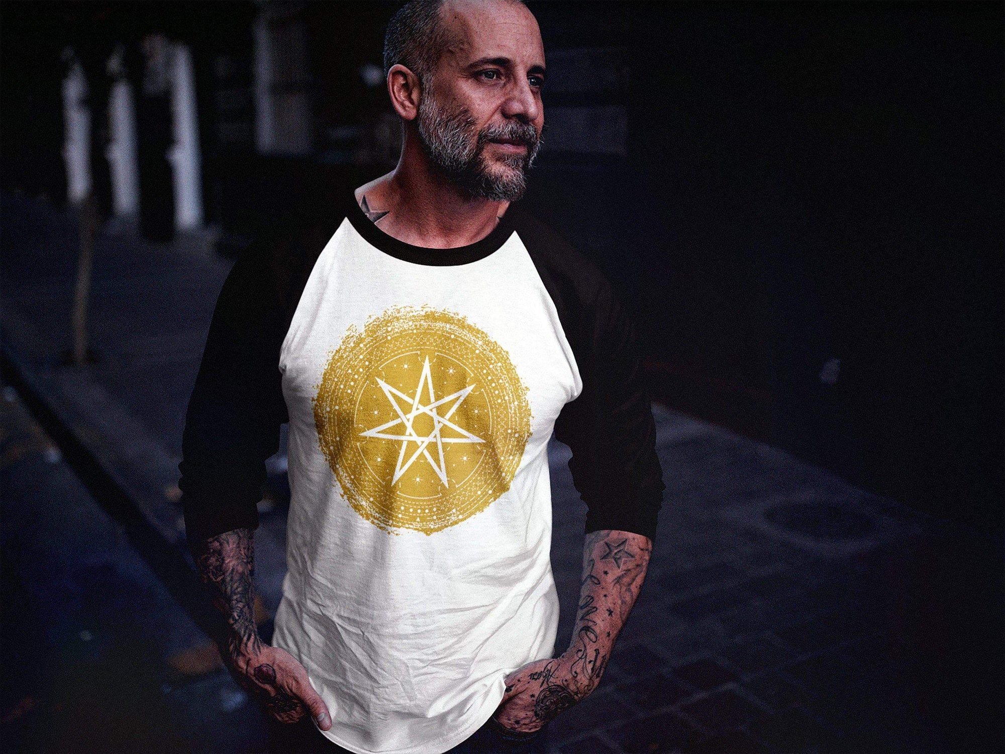 Wiccan Seven-Pointed Faery Star Unisex 3/4 Raglan Shirt Ancient Treasures Ancientreasures Viking Odin Thor Mjolnir Celtic Ancient Egypt Norse Norse Mythology
