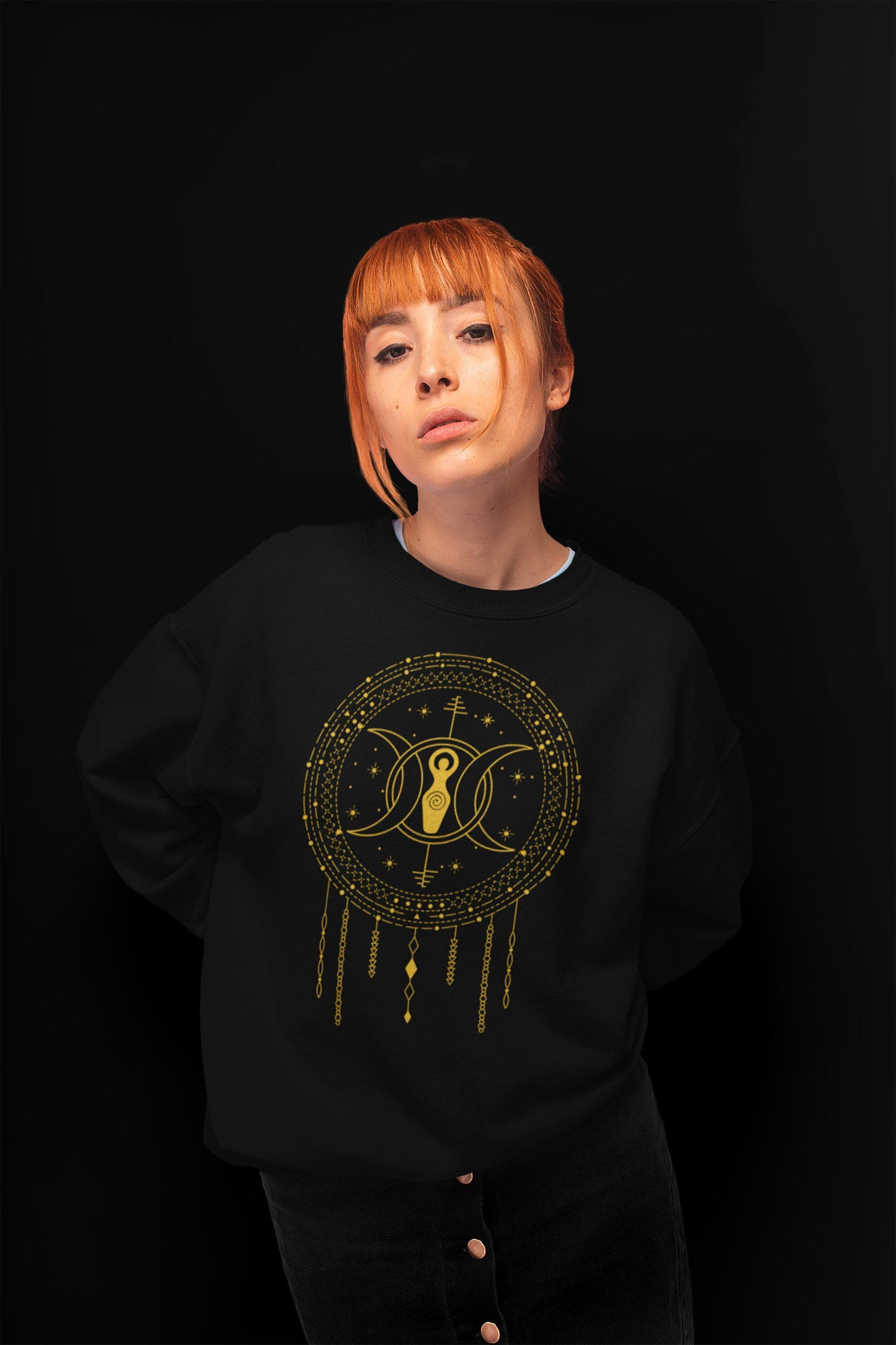 Wiccan Triple Moon Goddess Unisex Heavy Blend Crewneck Sweatshirt Ancient Treasures Ancientreasures Viking Odin Thor Mjolnir Celtic Ancient Egypt Norse Norse Mythology
