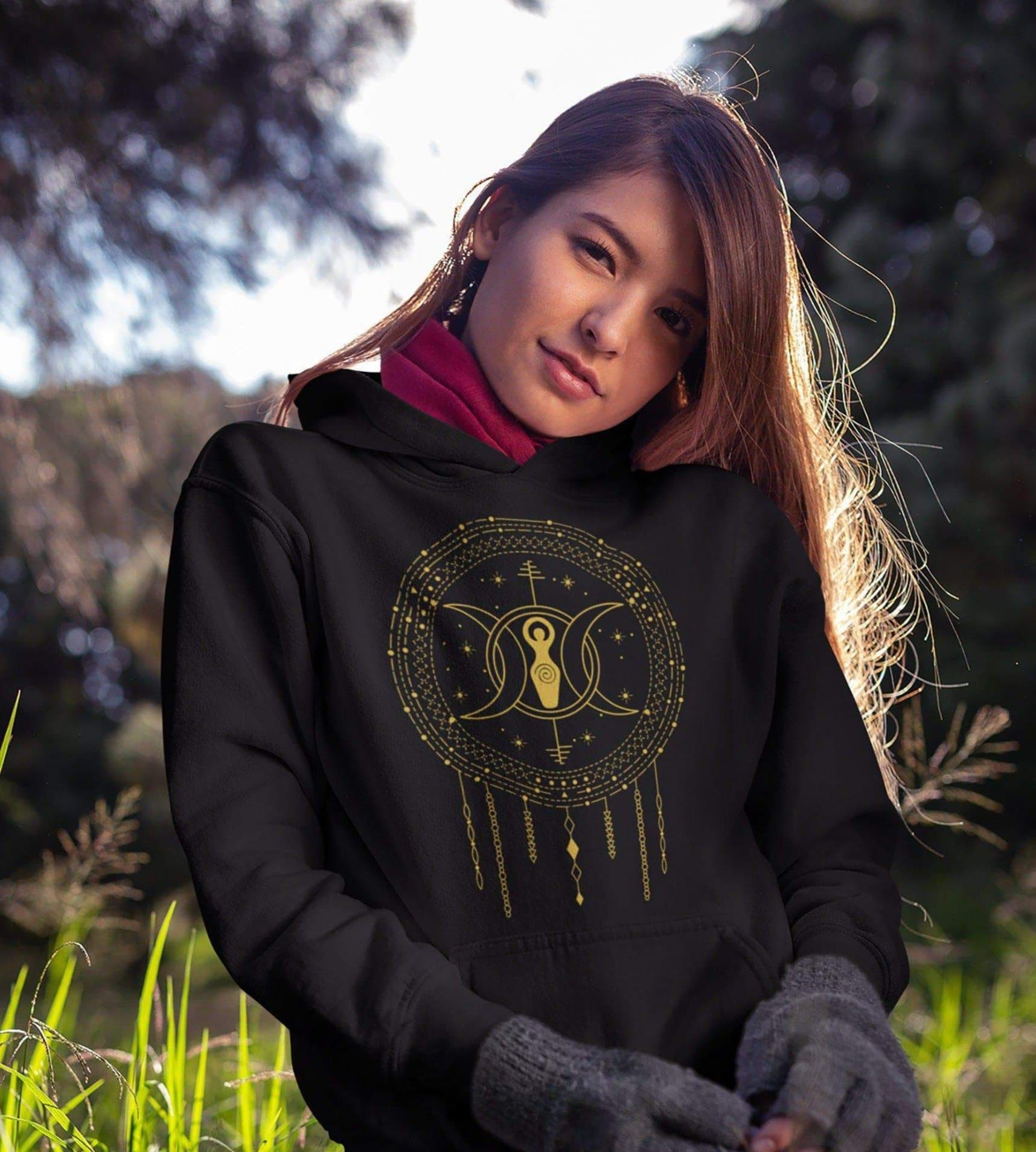 Wiccan Triple Moon Goddess Unisex Hoodie Ancient Treasures Ancientreasures Viking Odin Thor Mjolnir Celtic Ancient Egypt Norse Norse Mythology