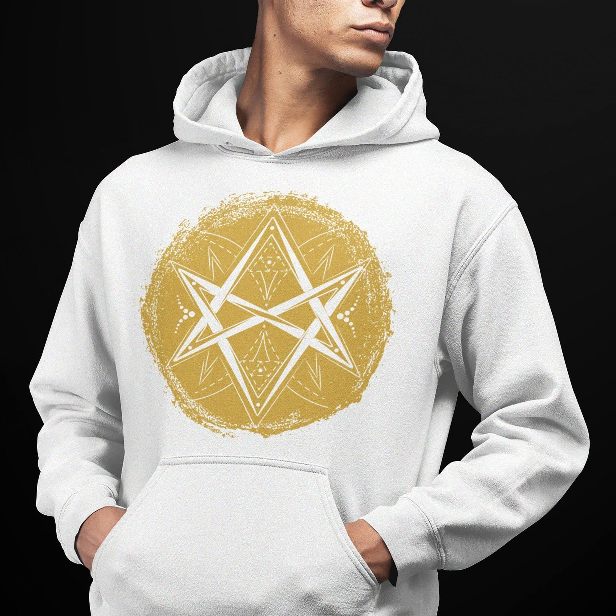 Wiccan Unicursal Hexagram Symbol Brushstroke Unisex Hoodie Ancient Treasures Ancientreasures Viking Odin Thor Mjolnir Celtic Ancient Egypt Norse Norse Mythology