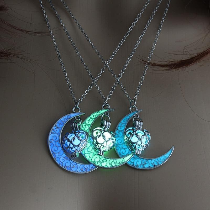 Wiccan Crescent Moon Glow in the Dark Pendant Necklace