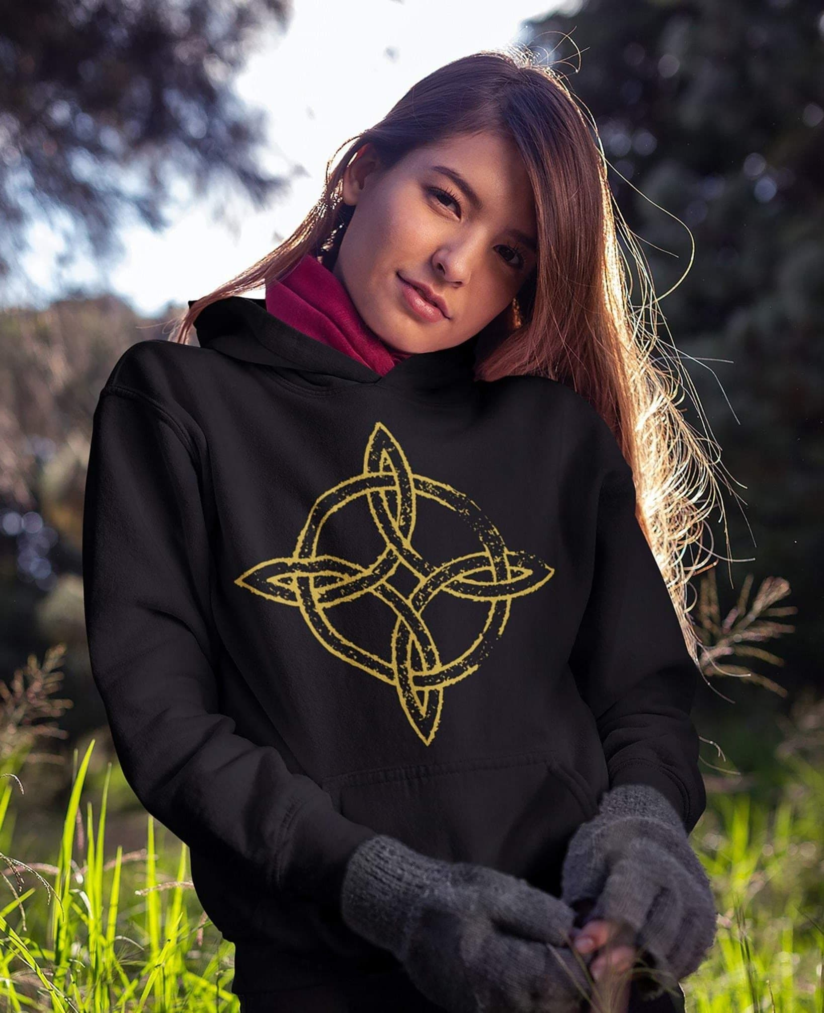 Wiccan Witch's Knot Unisex Hoodie Ancient Treasures Ancientreasures Viking Odin Thor Mjolnir Celtic Ancient Egypt Norse Norse Mythology