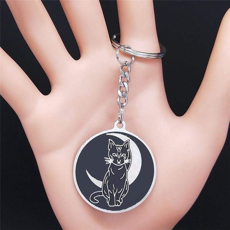 Wiccan Witchcraft Crescent Moon Cat Stainless Steel Keychain Ancient Treasures Ancientreasures Viking Odin Thor Mjolnir Celtic Ancient Egypt Norse Norse Mythology