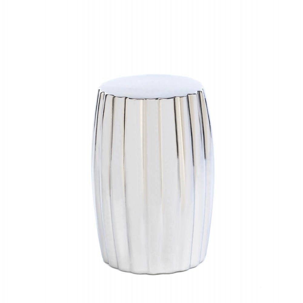 Ceramic Silver Decorative Stool