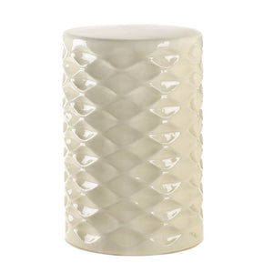 Ivory Faceted Ceramic Stool