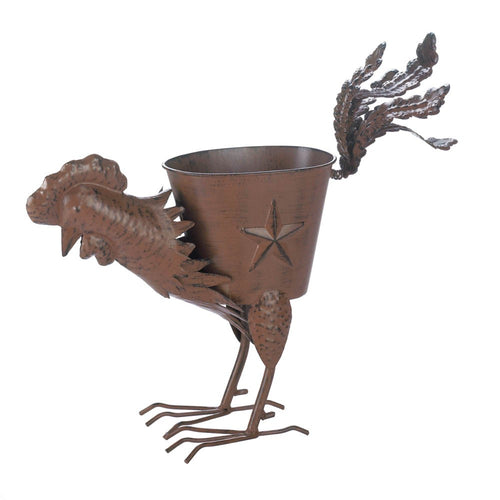 Rooster Planter With Multiple Feathers