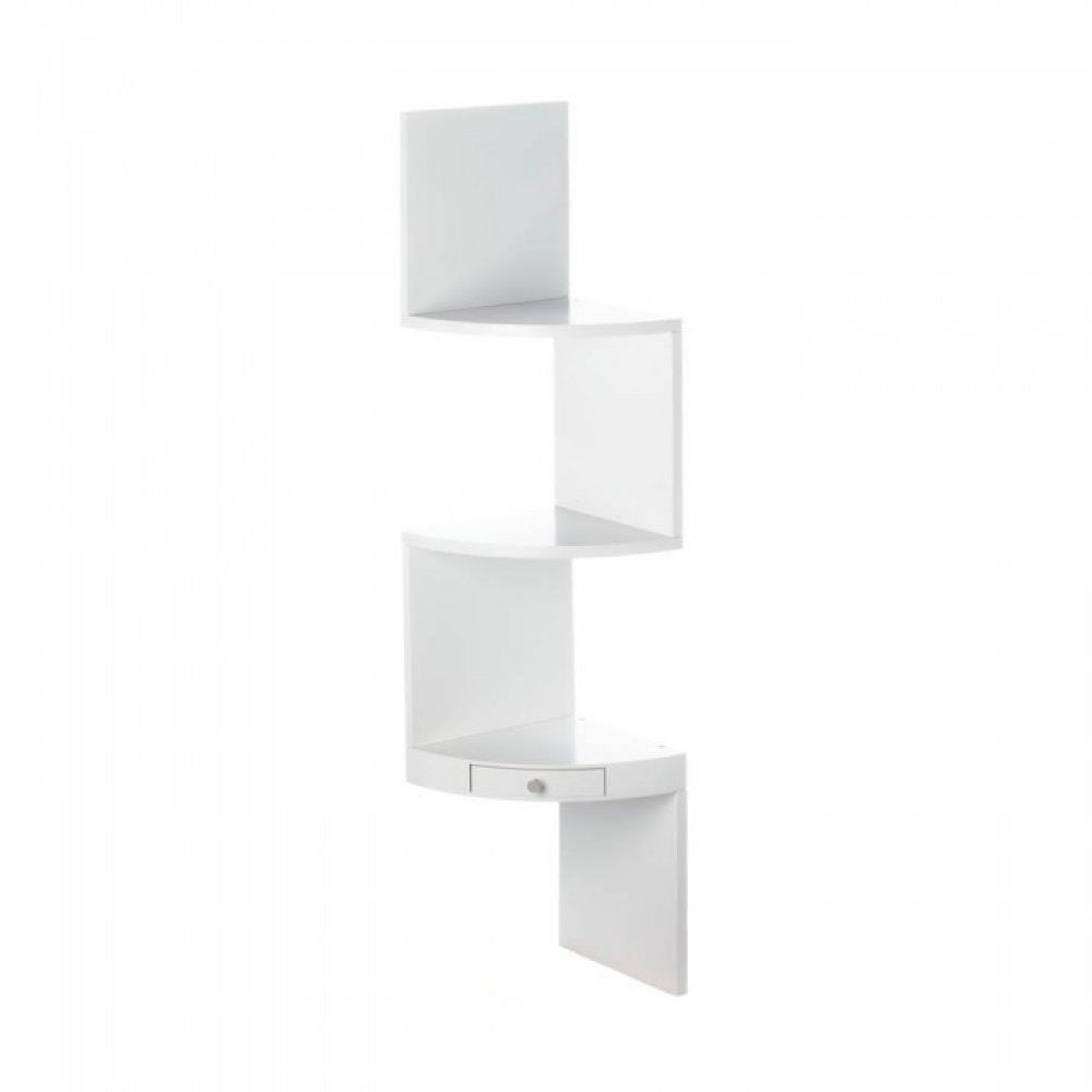 White Corner Triple Shelves With Drawer
