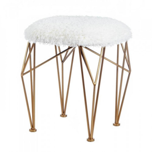Geo White Faux Fur Stool