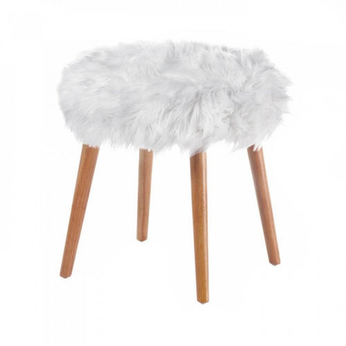 White Faux Fur Stool