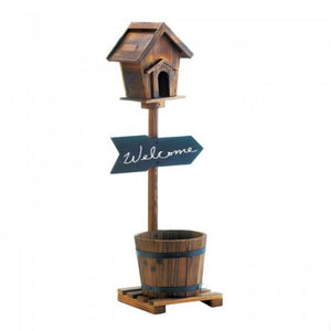 Welcome Birdhouse Rustic Barrel Planter