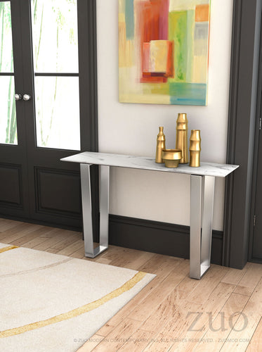 Atlas Console Table Stone & Brushed Stainless Steel