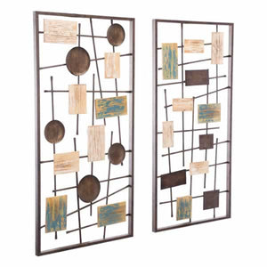 Abstract Set Of 2 Wall Décor Antique