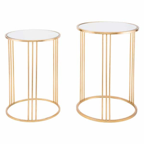 Magri Set Of 2 Nesting Round Tables Gld