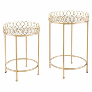 Set Of 2 Tray Tables Gold