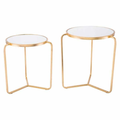Set Of 2 Tripod Tables Gold