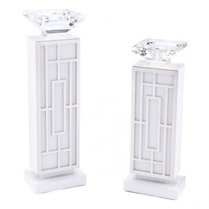 White Glass Candle Holder Lg White