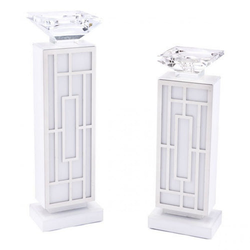 White Glass Candle Holder Sm White