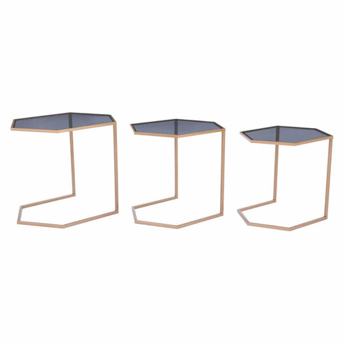 Geo Set of 3 Nesting Tables Black & Gold
