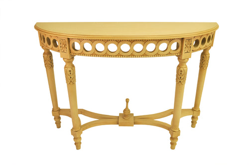 Neoclassical Demilune Console w/ Crackle Finish Table Top