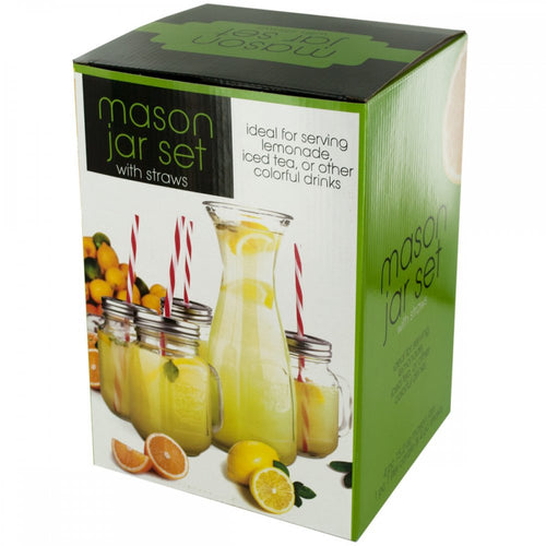 Mason Jar & Carafe Beverage Set With Straws