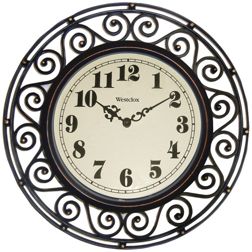 "Westclox 12"" Round Filigree Rubbed Bronze Finish Clock"