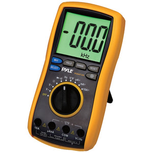 Pyle Pro Digital Lcd Ac Dc Volt Current Resistance & Range Multimeter With Rubber Case Test Leads & Stand