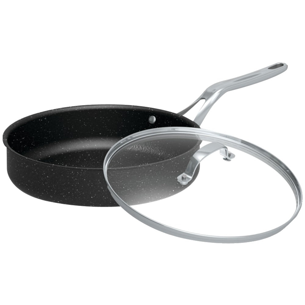 "The Rock By Starfrit The Rock By Starfrit 11"" 4.7-quart Deep Saute Pan With Glass Lid & Stainless Steel Handles"