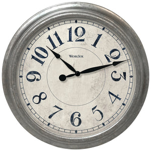 "Westclox 15.5"" Round Galvanized Finish Gray Wall Clock"