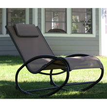 All Weather Patio Porch Outdoor Wave Cocoa Aluminum Rocker Rocking Chair