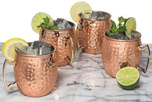 4PCS Free Shipping 550ml 18 Ounces Hammered Copper Plated  Moscow Mule Mug  Beer Cup Coffee Cup Mug Copper Plated Drinkware