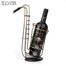 Tooarts Wine Bottle Holder Metal Figurine Sax Wine Rack Practical Figurine Crafts Artwork For Home Decoration Accessories