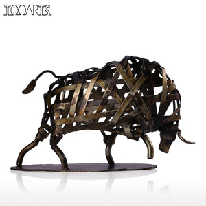 Tooarts Metal Figurine Iron Braided Cattle Figurine Vintage Home Decor Handmade Animal Crafts Accessories Gift For Home Office