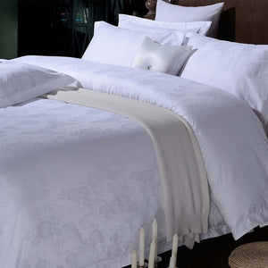 Five Stars Hotel 100% cotton Luxury Bedding Set White Embroidered Hotel Duvet Cover Set King Queen Size Hotel Bedding Sheets Set