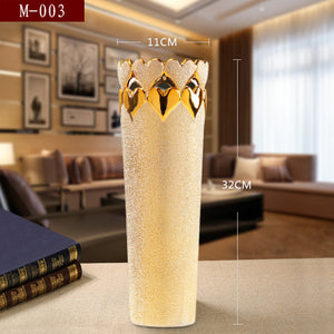 Free Shipping Fashion Modern Style golden Ceramic Tabletop Flower vase for Wedding gift  Home Decoration Accessories crafts