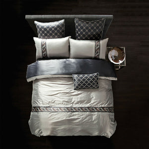 Silk Bamboo Fiber Duvet Cover Set silver light gray Bed Linens Queen King size Bedding Sets Embroidered